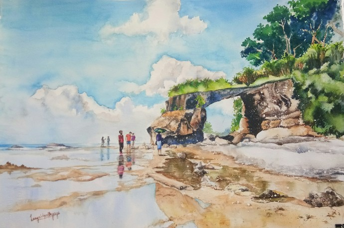Andaman 3: Natural Bridge, Coral point by Lasya Upadhyaya, Impressionism Painting, Watercolor on Paper, Beige color