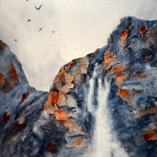Waterfall by Nisha Sehjpal, Abstract Painting, Watercolor on Paper, Gray color