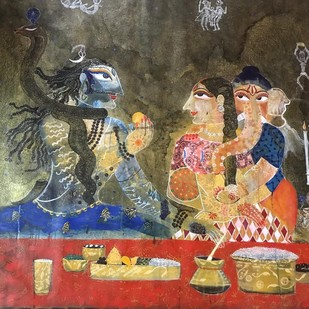 Candle Light Dinner by REKHA PANDIA, Expressionism Painting, Acrylic & Ink on Canvas, Brown color