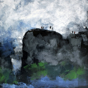 Landscape by Vijay Shelwante, Impressionism Painting, Acrylic on Canvas, Green color