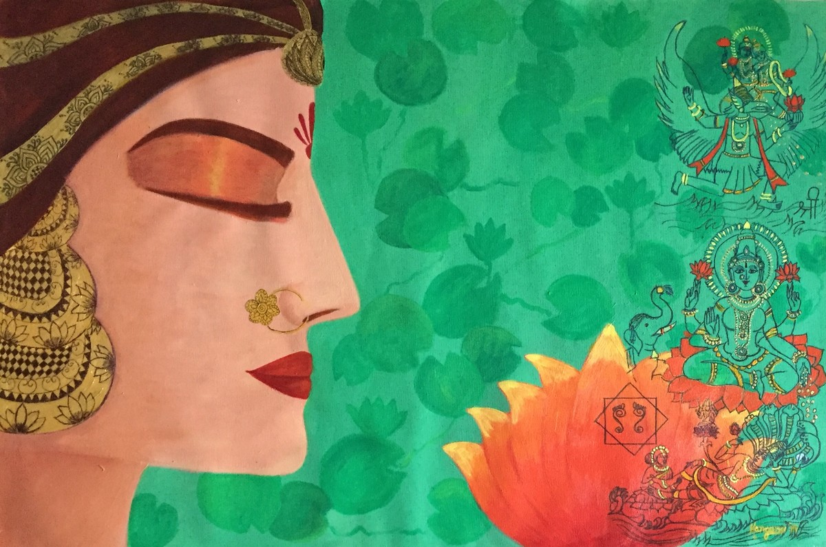 Laxmi with Vishnu by Kangana Vohra , Expressionism Painting, Acrylic & Ink on Canvas, Green color