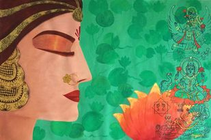 Goddess Laxmi by Kangana Vohra , Expressionism Painting, Acrylic & Ink on Canvas, Green color