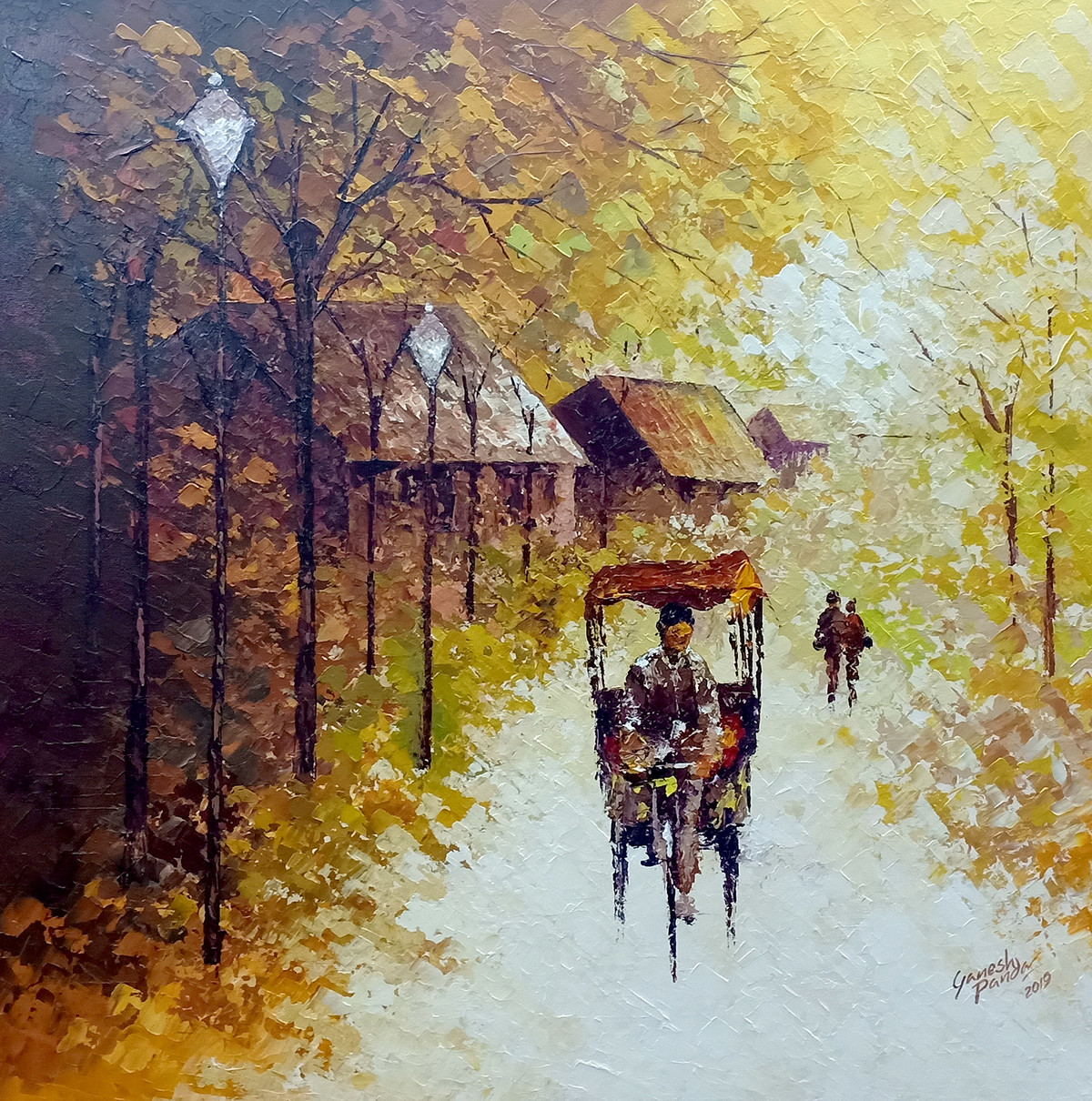 Rickshaw Ride by Ganesh Panda, Expressionism Painting, Acrylic on Canvas, Beige color