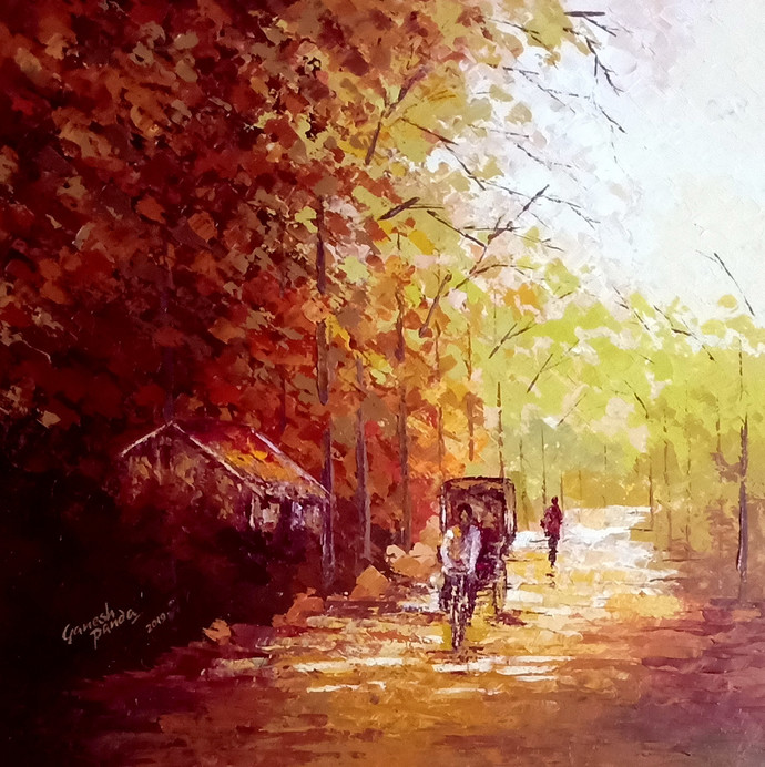 The Way by Ganesh Panda, Expressionism Painting, Acrylic on Canvas, Brown color