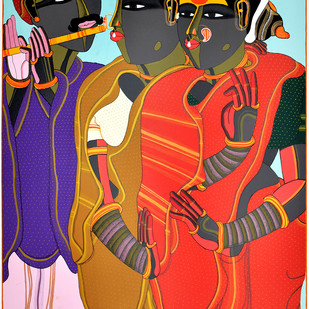 Flute Player by Thota Vaikuntam, Expressionism Printmaking, Serigraph on Paper, Brown color