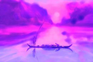 Pink Sunset Digital Print by The Print Studio,Impressionism