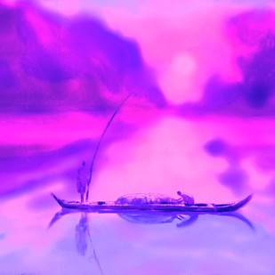 Pink Sunset by The Print Studio, Impressionism Painting, Digital Print on Canvas, Purple color