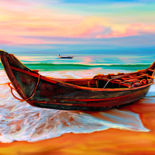 Beach Side - 13 by The Print Studio, Impressionism Painting, Digital Print on Canvas, Brown color