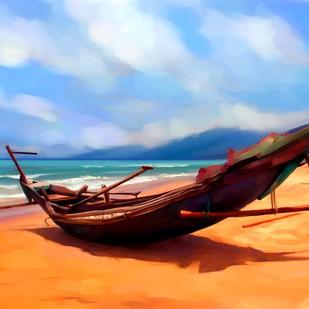 Kattumaram on Beach - 20 Digital Print by The Print Studio,Impressionism