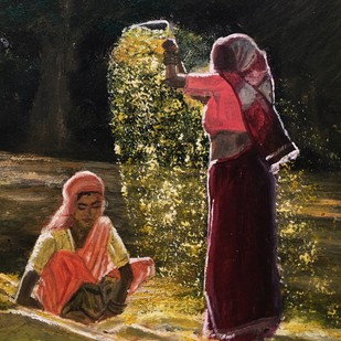 Farmer working in the morning by S.SHIVAPRASAD, Expressionism Painting, Mixed Media, Brown color