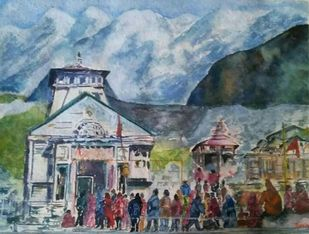 Himalayan Kedernath Valley by Rakhi Bose, Impressionism Painting, Watercolor on Paper, Green color