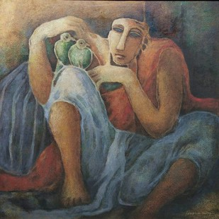 Birdseller - I by Swapan Kumar Palley, Impressionism Painting, Oil on Canvas, Brown color