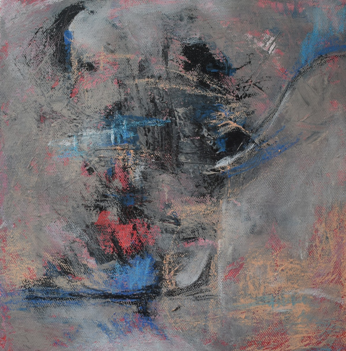 Alpas by Rinden, Abstract Painting, Mixed Media on Canvas, Gray color