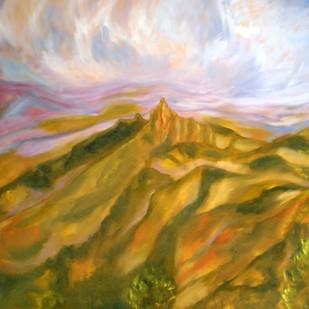 IMPRESSION OF RANGASWAMY PEAK, NILGIRIS by Deepa Kern, Impressionism Painting, Oil on Canvas, Brown color