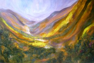Ascent To The Mountains by Deepa Kern, Impressionism Painting, Oil on Canvas, Brown color
