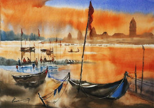 brijghat ganga by praveen verma, Impressionism Painting, Watercolor on Paper, Brown color