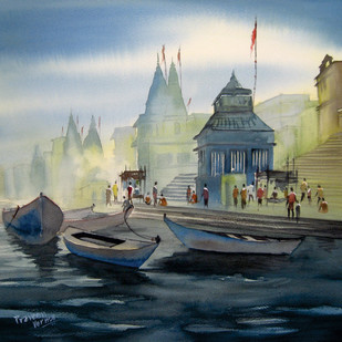 Banaras by praveen verma, Impressionism Painting, Watercolor on Paper, Blue color