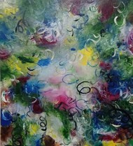 dreamer dream by shelja, Abstract Painting, Mixed Media on Canvas, Green color