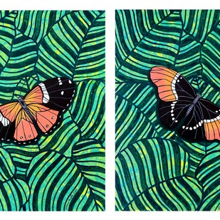 Gift of Nature 9 (DIPTYCH) by Sreya Gupta, Pop Art Painting, Mixed Media on Canvas, Green color