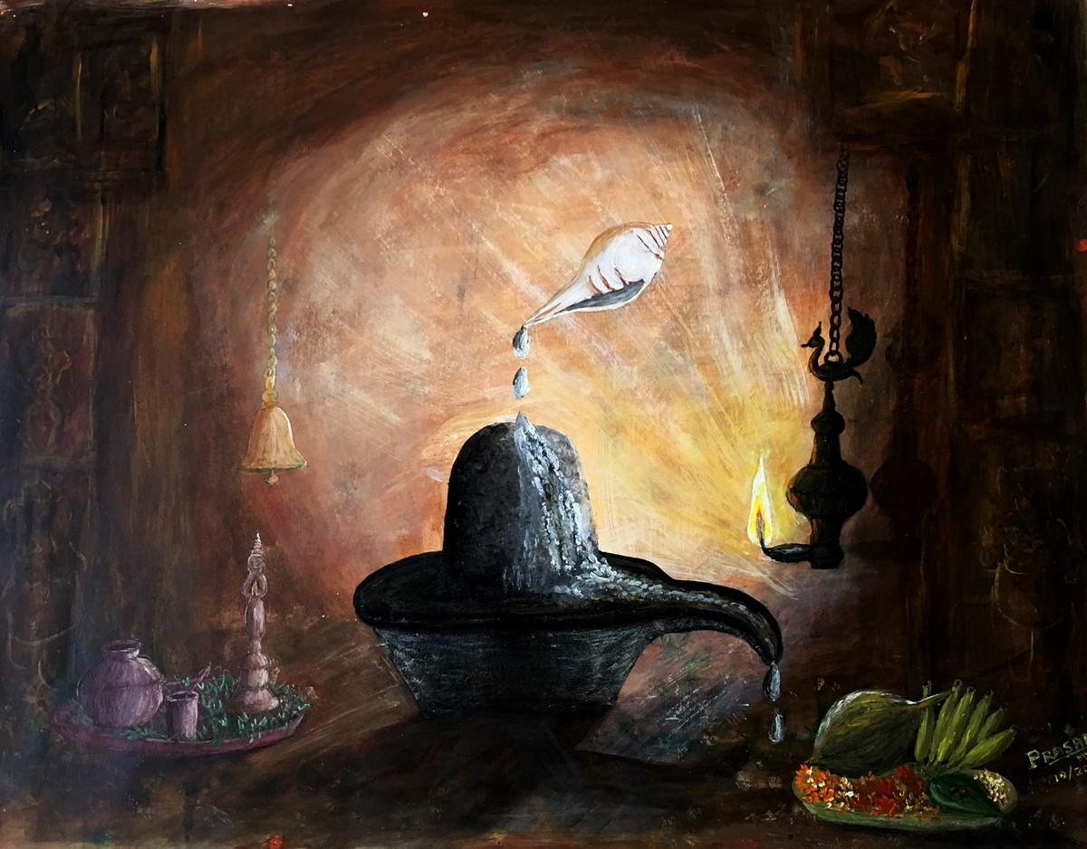 Om namha Shivaya .... by S.SHIVAPRASAD, Expressionism Painting, Mixed Media, Brown color