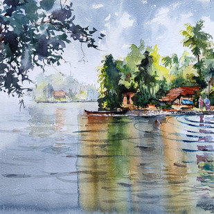 Life along river - 21 by Mopasang Valath, Impressionism Painting, Watercolor on Paper, Cyan color