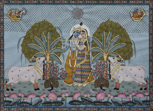 Pichwai by Unknown Artist, Folk Painting, Stone Colour on Cloth, Gray color