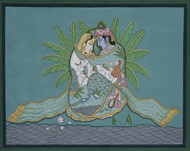 Pichwai by Unknown Artist, Folk Painting, Stone Colour on Cloth, Green color