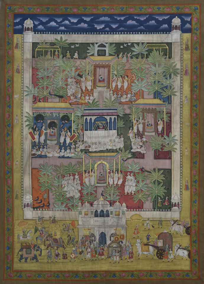 Pichwai by Unknown Artist, Folk Painting, Stone Colour on Cloth, Brown color