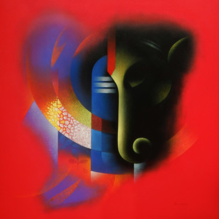 Ganesha I by Pradip Unni, Decorative Painting, Acrylic on Canvas, Red color