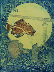 Industrialization by Jyotirmay Dalapati, Expressionism Printmaking, Etching and Aquatint, Green color