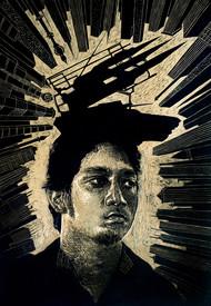Self independent by Jyotirmay Dalapati, Expressionism Printmaking, Wood Block, Black color