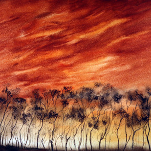 Savanna by Nisha Sehjpal, Impressionism Painting, Watercolor on Paper, Red color