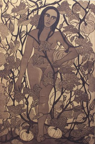 Nature a Beautiful Trap 2 by Rajashree Nayak, Expressionism Printmaking, Etching and Aquatint, Brown color