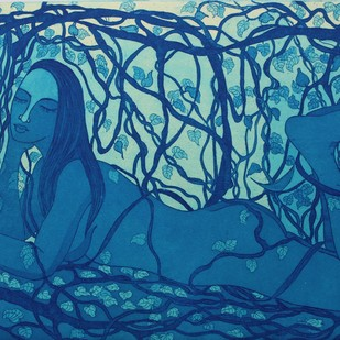 Nature a Beautiful Trap 1 by Rajashree Nayak, Expressionism Printmaking, Etching and Aquatint, Blue color