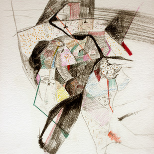 baster09 by Vipin Singh Rajput, Expressionism Drawing, Mixed Media on Paper, Beige color