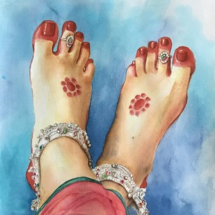 Sringaar by Ranjeeta verma, Impressionism Painting, Water Based Medium on Paper, Cyan color