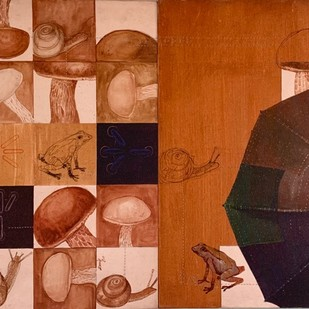 Monsoon by Ramchandra Kharatmal, Expressionism Painting, Mixed Media on Canvas, Brown color