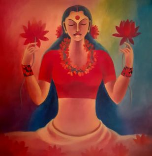 Lakshmi by Manisha Raju, Expressionism Painting, Acrylic on Canvas, Red color