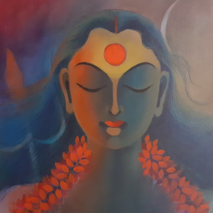 Shakti by Manisha Raju, Expressionism Painting, Acrylic on Canvas, Brown color
