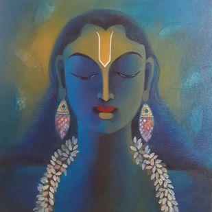 Vishnu by Manisha Raju, Expressionism Painting, Acrylic on Canvas, Blue color
