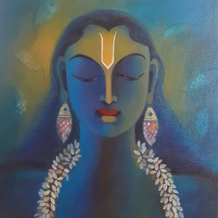 Vishnu by Manisha Raju, Expressionism Painting, Acrylic on Canvas, Blue color