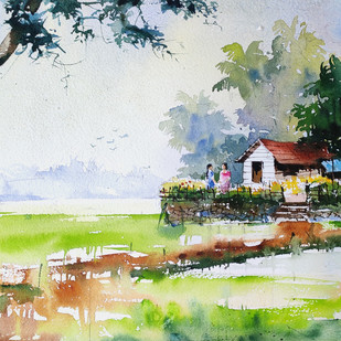 Life along river - 20 by Mopasang Valath, Impressionism Painting, Watercolor on Paper, Beige color