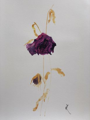 Floral Decay by Nisha Sehjpal, Impressionism Painting, Watercolor on Paper, Gray color