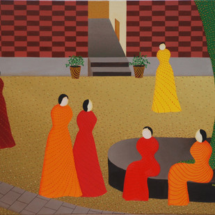 The women's world by Hemavathy Guha, Expressionism Painting, Oil on Canvas, Brown color