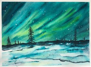 Northern Sky by Nisha Sehjpal, Decorative Painting, Watercolor on Paper, Cyan color