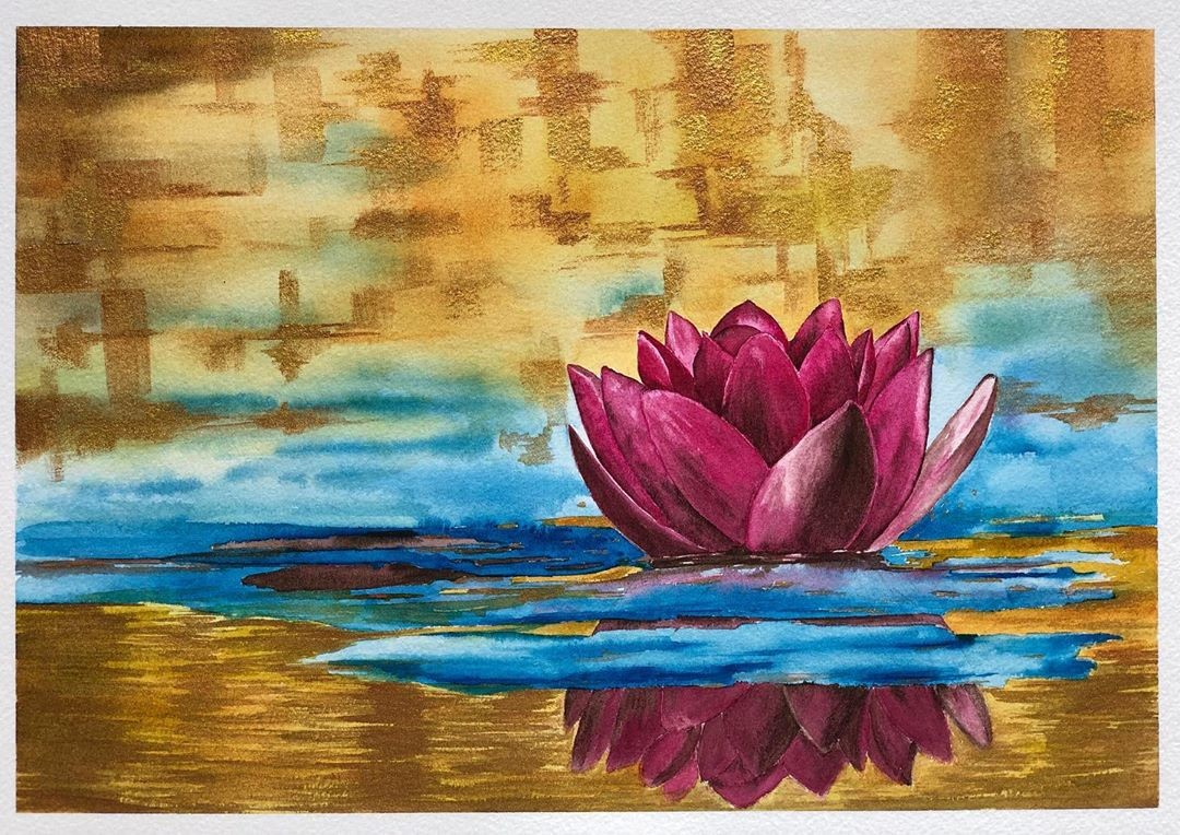 Swimming in Gold by Nisha Sehjpal, Impressionism Painting, Watercolor on Paper, Beige color