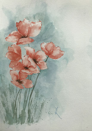 Poppies by Nisha Sehjpal, Impressionism Painting, Watercolor on Paper, Gray color