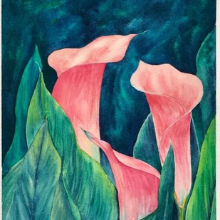 Hide and Seek by Nisha Sehjpal, Impressionism Painting, Watercolor on Paper, Green color