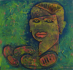 DILAOGUE 2 by KASHYAP PARIKH, Expressionism Painting, Acrylic on Board, Brown color