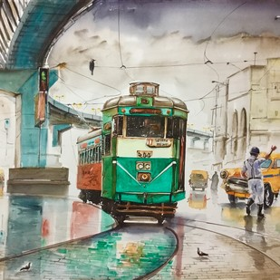 Calcutta City of Joy..Park Circus ..Arsalan Biryani.. by Avanish Trivedi, Impressionism Painting, Watercolor on Paper, Beige color